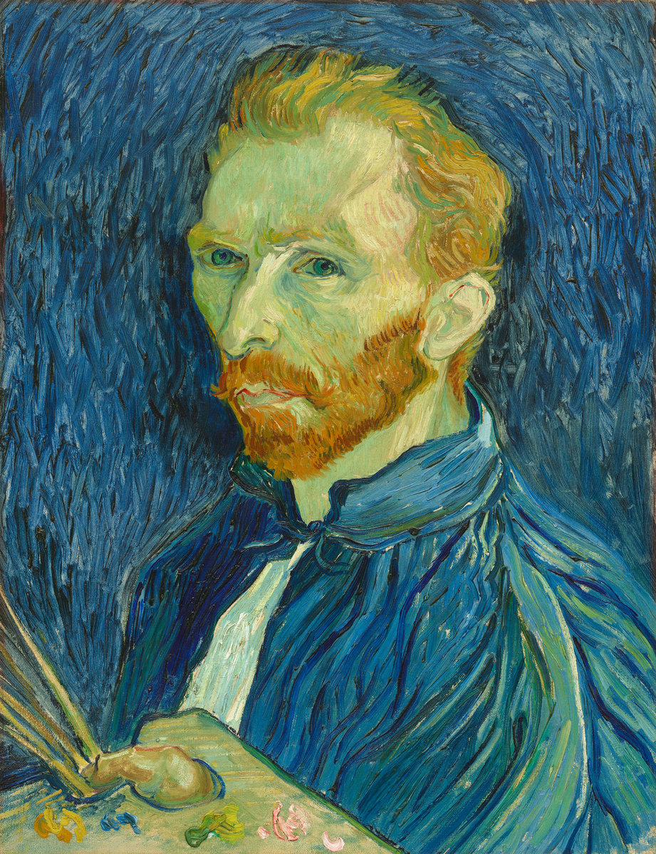 oil self-portrait Vincent Van Gogh 1853 blue brackground
